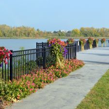 Riverfront Park, Village of Athens, NY: The Riverfront Park features Kinsman's Hayrack Planters on the railings, while old-fashioned Kinsman Hanging Baskets line the streets that lead up to the river.
