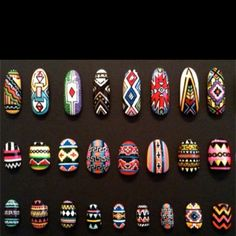 Tribal nail designs - I love these!