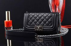 Luxury Chanel iPhone 6 6S Best Case With Chain Best Book Wallet Black