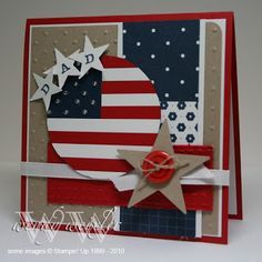handmade patriotic card ... definitely works for the 4th of July too with the flag theme ... like the use of kraft with the red white and blue papers ... circle die cut with the flag's stars and stripes ... great card!!