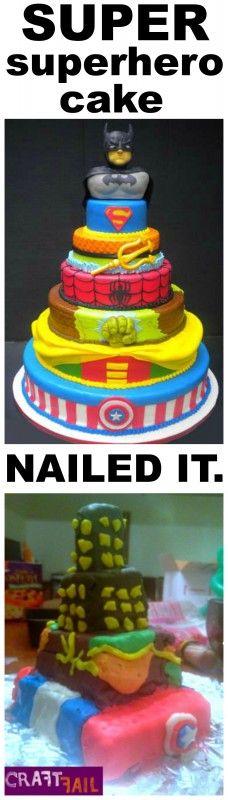 multi-layer Superhero Cake nailed it