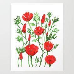 Poppies Art Print by Sarah Underwood Illustration - $17.68