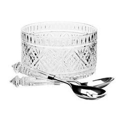 "3-piece crystal salad serving set with 1 bowl and 2 serving utensils.   Product: (1) Salad bowl and (1) serving utensilsConstruction Material: Glass and metalColor: Clear and silverDimensions: 5"" H x 9"" Diameter (salad bowl)"