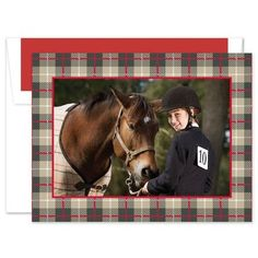 Send wishes for a happy holiday season with this digital photo card. Your favorite photo is framed by a dark red and brown plaid border for a festive look. Add a custom greeting to the inside flap for a personal touch. The size of the printed photo is 4 Holiday Greeting Cards, White Envelopes, Photo Cards, Dark Red, Happy Holidays, Seasons, Baseball Cards, Prints, Animals