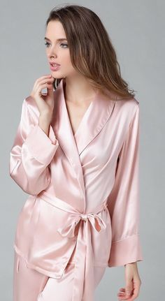 Lounge In These Lovely Satin Pajamas.