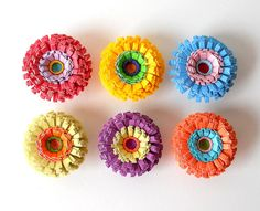 Push Pins, Handmade Paper Flowers, Set of Six by LBCpaper