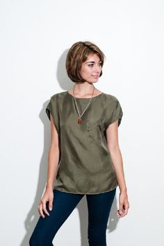 supersimple silk blouse in army green by Lekkerlife Clothing