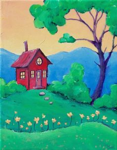 Summer Retreat with Hill of Flowers by tinyhousepaintings on Etsy