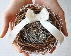 Ring bearer pillow Rustic nest ring pillow by WildRoseAndSparrow