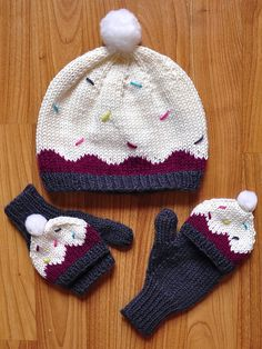 "Ravelry: ""Sweeter Than a Cupcake"" Hat and Fingerless Mitten Set in Girls and Adult Sizes pattern by Lauren Riker"