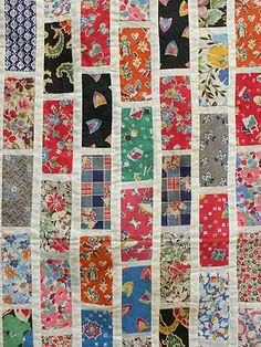 Fabulous Circa 1940's Brickwork Tile Style Showcase Fabric Sampler Quilt Top | eBay