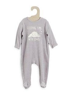 Pijama de terciopelo con estampado delantero                                                                                                                             rosa Bebé niña