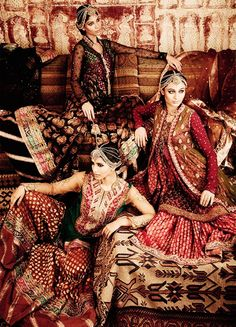 Three beauties (via Indian & Pakistani attire ツ | Traditional Indian Clothes)