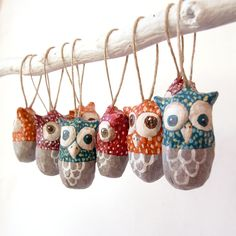 Colorful paper mache owls by Marion Westerman