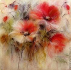 Fluffy Painting: Wool Watercolours By Marina Akserova Pictures On String, Felt Pictures, Flower Pictures, Fabric Painting, Fabric Art, Painting Art, Paintings, Felt Wall Hanging, Felt Pillow