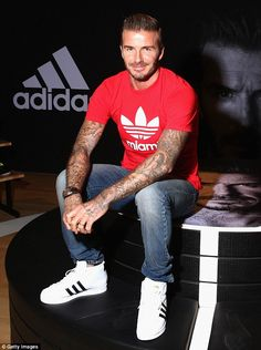 Time apart: David was recently in London, and then in Dubai (above) for an Adidas launch, ...