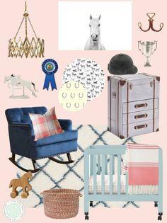 equestrian themed baby girl's nursery, horse nursery, pink and blue nursery