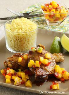 Poulet à la Jamaïcaine, salsa de mangue