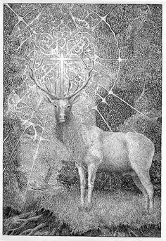 deer with cross between antlers Religious Pictures, Religious Art, Hunting Art, Wildlife Art, Ink Art, Antlers, Photo Art, Moose Art, Saints