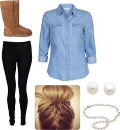 22 Cool Ways to Wear Baby Blue this Fall Black Uggs, Cute Winter Outfits, Cute Outfits, Black Pants, Uggs For Cheap, Picture Link, Ugg Boots, Chill, Fashion Boots