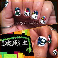 Monsters Inc nails #disney #pixar #nailart #ruthsnailart