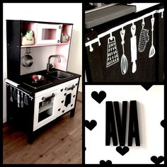 Ikea Duktig restyling with Hema and Abbondanza chalk paint, Sharpies, Design Letters and Ferm Living mini wall stickers.