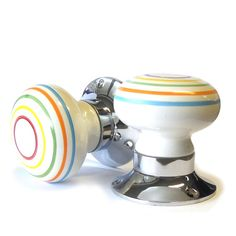 P137 A Pair of colourful striped white ceramic by PushkaHome