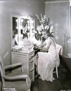 Carole Lombard in her dressing room