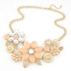Flower statement choker necklace - Pretty Summer Colors