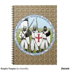 Knights Templar Spiral Notebook.  Sunday Steal: 50% Off Post-it® Notes, Notebooks & More!  USE CODE: ZSUNSTEAL185  Offer is valid through July 2, 2017 11:59PM PT. #Zazzle #spiral_notebook #notebook #Knights_Templar #Templars #medieval_knights #crusading_knights #knights #crusaders