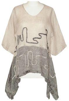 NP lagenlook linen gauze  kimono sleeve tunic Size L, style N2087