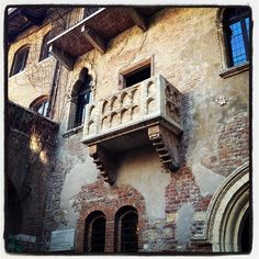 "Casa di Giulietta in Verona, Veneto. - Why does everyone hate on Romeo and Juliet? It's my favorite Shakespeare play, and watching ""Letters to Juliet"" makes me really want to visit Italy in general."