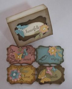 Stampin' Up! Four Frames stamp set - I really love adding these kinds of touches to things Card Tags, Gift Tags, Candy Cards, Paper Tags, Paper Candy, Copics, Handmade Crafts, Handmade Products, Stamping Up