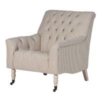 Elegant deep buttoned occasional chair