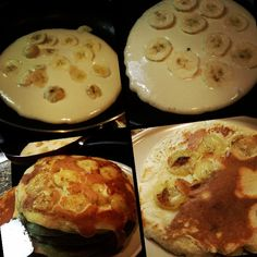 I made Banana pancake. Yummmmm It was so sooooo delicious :P Love it Griddle Cakes, Griddle Pan, Banana Pancakes, Eat Healthy, Fruit, Cooking, Breakfast, Kitchen, Food