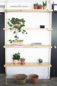 Make your own hanging rope shelves www.apairandasparediy.com