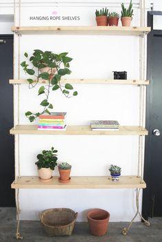DIY: hanging rope shelves
