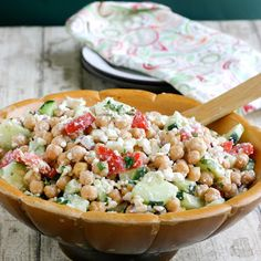 Feta and Chickpea Salad  Key ingredient website...need this!  Salad looks good also :)