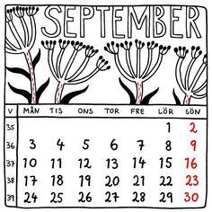 September 2018. Almanacka. Square calendar. Svensk kvadratisk kalender. Illustration Jytte Hviid.