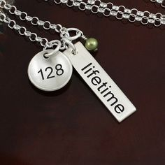 $59.00 weight loss necklace as an inspiration, as a reward, and as a celebration of everything youve done! The small round charm can be personalized with the number of your choice, and gently cupped to give it depth. You also have the option to personalize the back of the bar with a name, word or date (see second photo.)  ★ sterling silver  ★ round charm can be flat or gently cupped, and will be personalized with numbers or up to 6 characters  ★ 1 bar will be personalized with t...