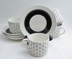 Rorstrand Sweden Venezia 4 Cups and Saucers Mid Century Modern, Hard To Find