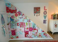 patchwork staircase made from new and vintage wallpapers by Clarabella Paper Wallpaper, Wallpaper Samples, Wall Wallpaper, Girl Room, Girls Bedroom, Bedroom Decor, Stair Storage, Fabric Patch, Room Organization