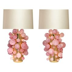 Pair of pink rock crystal bubble lamps with polish brass finish, created by Phoenix Gallery, NYC.Measures: To the rock crystal part 17 in / HOverall height 30 in / HLampshade is not included. Chandeliers, Crystal Furniture, Pink Lamp, Pink Chandelier, Art Deco Table Lamps, Contemporary Table Lamps, Modern Table, Pink Room, Pink Accents