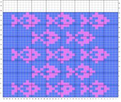 fish pattern charted for needlepoint damask book, vol. Fair Isle Knitting Patterns, Fair Isle Pattern, Knitting Charts, Knitting Stitches, Fish Patterns, Bead Loom Patterns, Cross Stitch Patterns, Crochet Patterns, Crochet Fish