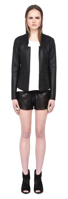 MACKAGE RANYA BLACK LEATHER CLASSIC SPRING BLAZER FOR WOMEN. #mackage #leatherjacket #ss15