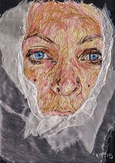 Emily Tull Hand Embroidery Patterns, Embroidery Stitches, Machine Embroidery, Thread Painting, Thread Art, Art And Craft Design, Textiles, Portrait, Textile Art