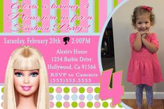 Barbie Birthday Invitation- Click on the image twice to place orders or follow me on facebook. or email me at the address in BIO.