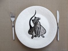 Hand painted plate  Cats dinner plate Ceramic hand by artdp, £19.99