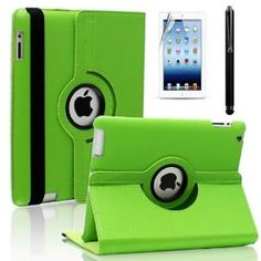Amazon.com: SAVEICON Green Set PU Leather Case Smart Cover with Stand For The New iPad 4 4th Generation with Retina Display, iPad 3 and iPad 2 with Sleep and Wake Function (With Free Screen Protector, Free LCD Screen Cloth Included and Free Stylus): MP3 Players & Accessories