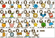 Un ejemplo de imagenes para niños de abecedario en inglés Teaching The Alphabet, Teaching Aids, English Activities, Alphabet Activities, Phonetic Alphabet Sounds, English Alphabet Pronunciation, Pre Primary School, Uncountable Nouns, French Alphabet
